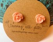 Small Peach Cabochon Rose Earrings