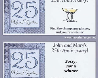 25th Anniversary party favors scratch off tickets-set of 10