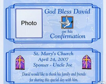 Confirmation party favors candy wrappers customized girl or boy