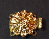 Vintage Clasp 2-Strand Czech Goldtone Round Filigree Openwork