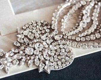 Crystal Wedding dress sash - Hearts Art 15 inches (Made to Order)