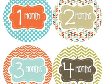 Monthly Baby Stickers Baby Month Milestone Stickers Boy Blue Green Brown Chevron Boy Bodysuit Stickers Baby Shower Gift Photo Prop Pat2-R