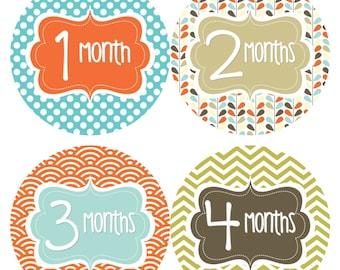 Monthly Baby Stickers Baby Month Milestone Stickers Boy Blue Green Brown Chevron Boy Bodysuit Stickers Baby Shower Gift Photo Prop Pat2-R