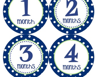 Baby Month Stickers Boy Monthly Milestone Stickers Navy Blue Green 12 Month Stickers Month Sticker Baby Shower Gift and Photo Prop -Trip