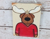 Hockey Jersey Moose Personalized Christmas Ornament