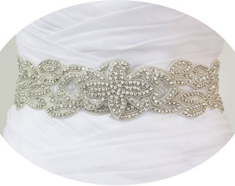 JANESE - Vintage Inspired Crystal Rhinestone Bridal Beaded Sash Belt, Wedding Dress Sash, Bridal Crystal Belts