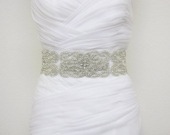 SALE - ELLIANA - Vintage Inspired Statement Wedding Crystal Rhinestone Sash, Bridal Beaded Belt, Bridal Rhinestone Belt