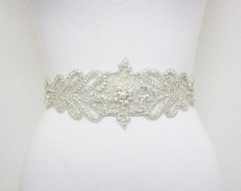 DAVINA - Swarovski Pearls And Rhinestones Bridal Sash, Wedding Beaded Belt, Wedding Crystal Belts