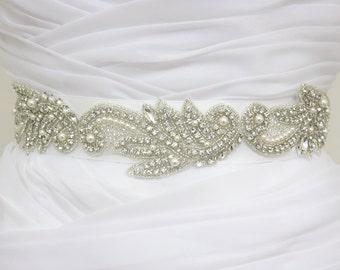 JULIENNE - Leaf Crystals And Pearls Bridal Sash, Rhinestones Bridal Belt, Wedding Beaded Sashes, Rhinestone Wedding Belts