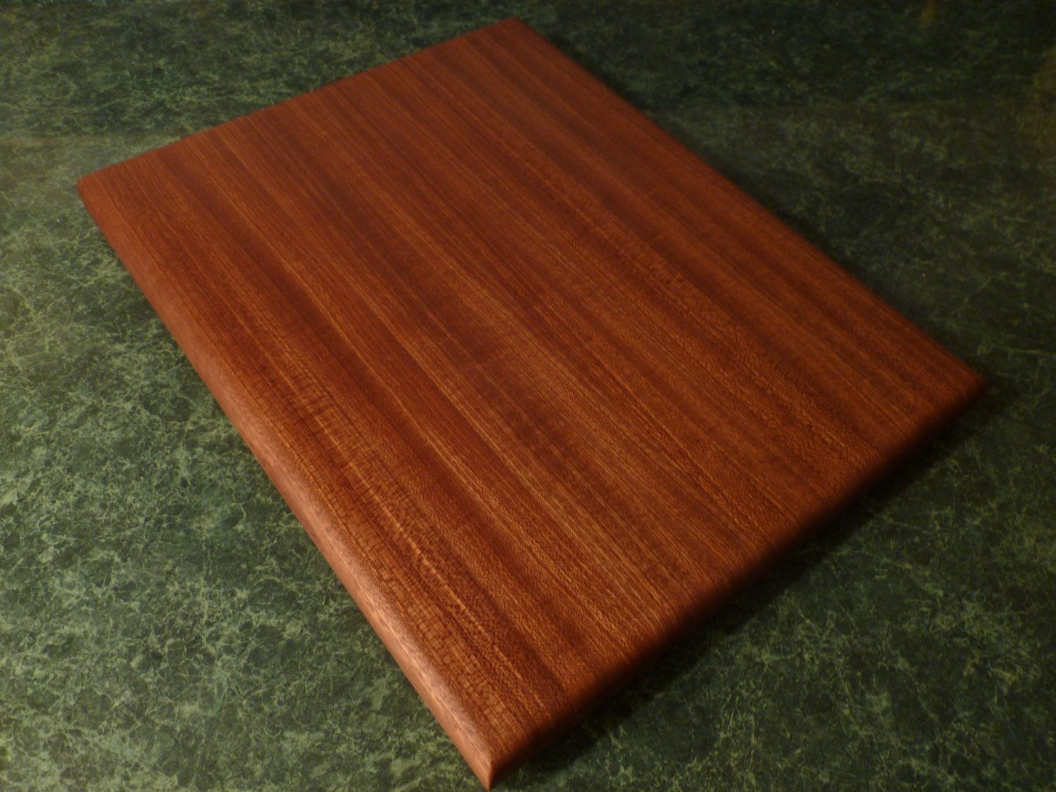 handmade dark brown wood cutting board 15 strips of sapele. Black Bedroom Furniture Sets. Home Design Ideas