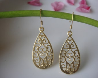 18k gold over 925 sterling silver tear drop earrings, earrings,  vermeil filigree earrings, tear drop earrings, vermeil tear drop earrings,