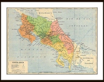 Costa Rica Vintage Map Print from a 1929 Vintage Map, Gift for Ticos