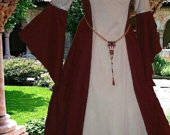 FREE SHIP Medieval Gown Renaissance LoTR SCA Garb Costume Wine White Particolor 1pc lxl