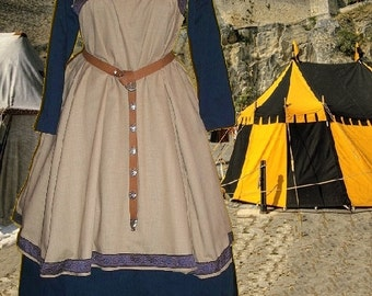 FREE SHIP SCA Garb Norse Viking Medieval Tan Linen Navy Cotton Apron and Kirtle Ensemble lxl