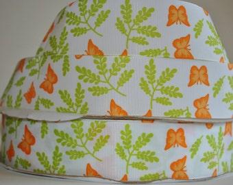 "5 yards -orange butterfly print 1.5""  grosgrain ribbon"