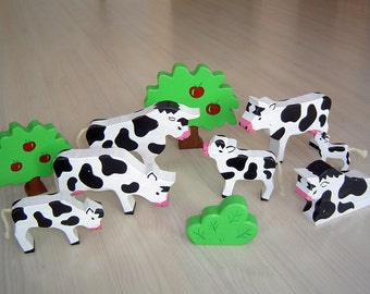 pdf patterns / tutorial for 10 different wooden animals in Waldorf style, DIY - cow, bull, calf,tree, bush
