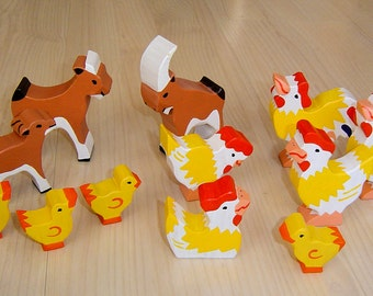 pdf patterns / tutorial for 10 different wooden animals in Waldorf style, DIY - goat, cock, chicken, chicks