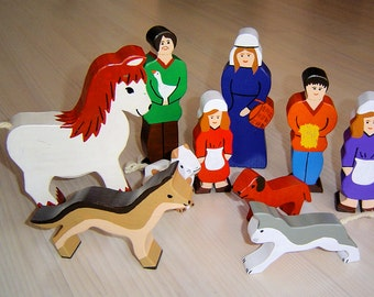 pdf patterns / tutorial for 10 different wooden figures in Waldorf style, DIY - farmer, father, mother, child, girl, boy, dog, cat, horse