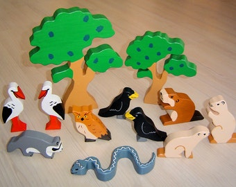 pdf patterns / tutorial for 10 different wooden animals in Waldorf style, DIY - stork, raven, owl, marmot, beaver, racoon, snake