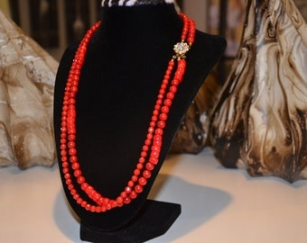 Traditional Ruby Red Coral Necklace