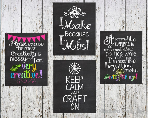 Wall Art For Craft Room : Craft room chalkboard wall art by redbirdtrail