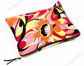 Upcycled Fabric Pouch - Made in NYC - Small Zippered Bag - Cosmetics Makeup Bag