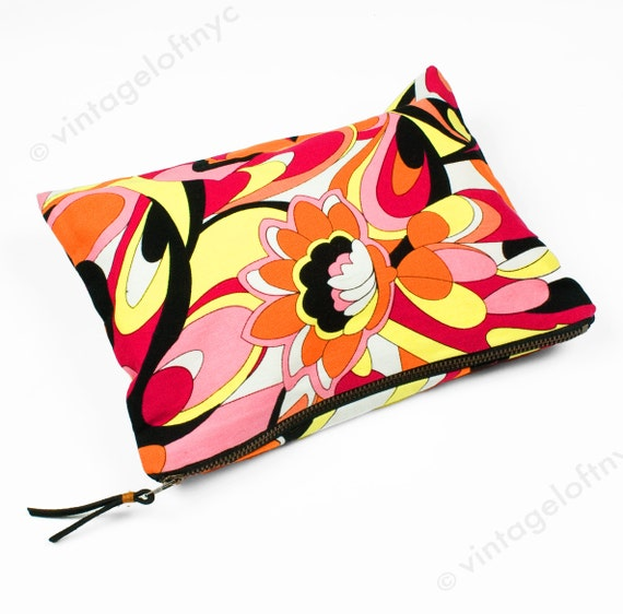 Graphic Floral Print Cotton Pouch - Made in NYC - Small Zippered Bag - Cosmetics Makeup Bag