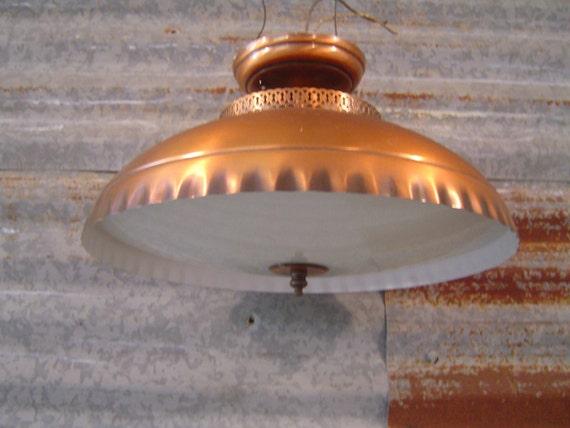 Copper Kitchen Light Fixture: 1960's Vintage Copper-Finish Kitchen Light Fixture