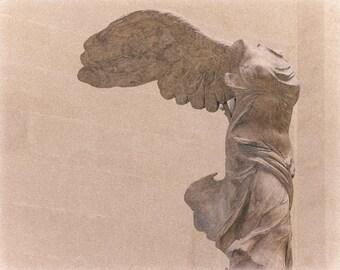 Winged Victory - Paris Photography, Sculpture, Lourve, Fine Art Print, Pastel, Monochrome, Home Decor