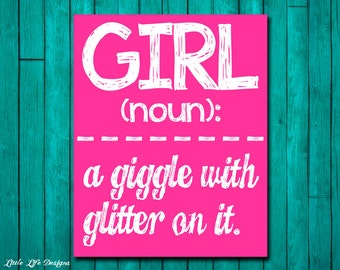 Girl Wall Art - Girl Room Decor - GIRL: a giggle with glitter on it. Wall Art and Home Decor. Childrens Room Decor. Baby Shower Gift. Kids.
