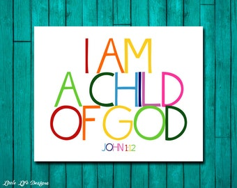 Christian Wall Art Children S Room Decor I Am A Child Of God Kids