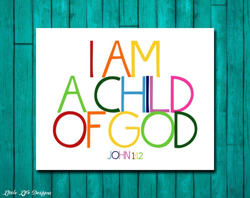 Christian Wall Art. Children's Room Decor. I Am A Child Of