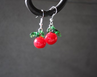 Apple lampwork glass beads