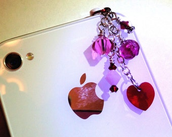 I Love Pink cell phone charm dust plug