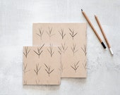 2 Notebooks, 2 Handmade Print Screen Journals with a Minimalist pattern, 2 Square Recycled Sketchbooks