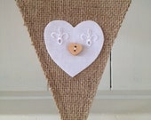 BURLAP BUNTING in white Broderie Anglaise with hearts and buttons, bunting decoration, wedding, party decoration