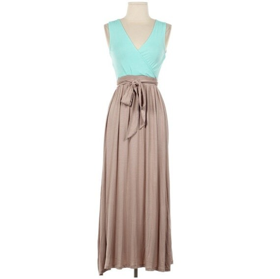 Mint and Taupel Maxi Dress Causal Maxi Dress Long Dress