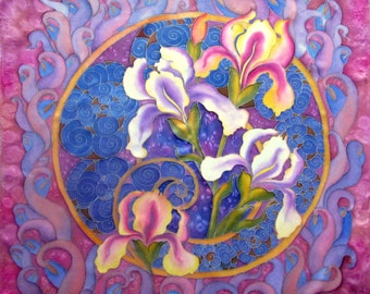 Silk scarf, handpainted.Batik shawl 'Romantic Irises' hand-painted on silk. Gift for her. Made to order