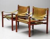 Beautiful Pair of vintage green Arne Norell Sirocco Safari Chairs MID CENTURY MODERN