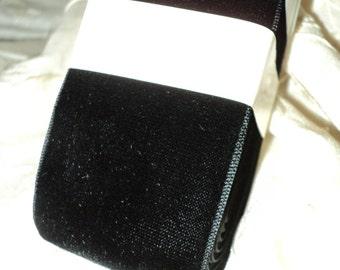 Vintage rayon Velvet Le Roi Italian Black Ebony Yardage 1930s Old Store Stock