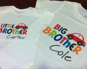 Big Brother and Little Brother Bodysuit or Tee - Matching Tees - Little Car