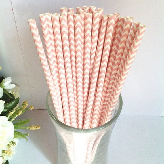 Paper Straws 50 Baby Pink Soft Coral Chevron Paper Drinking Straws Cake Pop Sticks Party Paper Straws-Wedding Birthday Bridal New Year