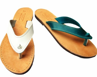 Leather sandals, women flip flops, leather gift for her
