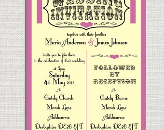 Printable Personalised Candy Stripe Wedding Invite