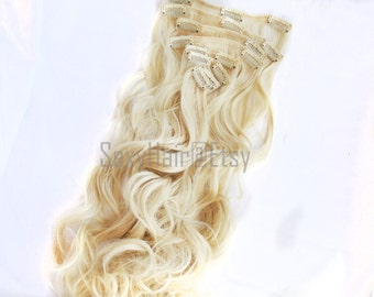 "23"" Platinum Blonde Hair Extensions, Bleach Blonde, Long Hair, Thick Hair, Clip In Extension, Full Head, Clip On Extension - 8 Piece Set"