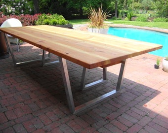 Modern Outdoor Dining Table and Bench Cedar & hand brushed