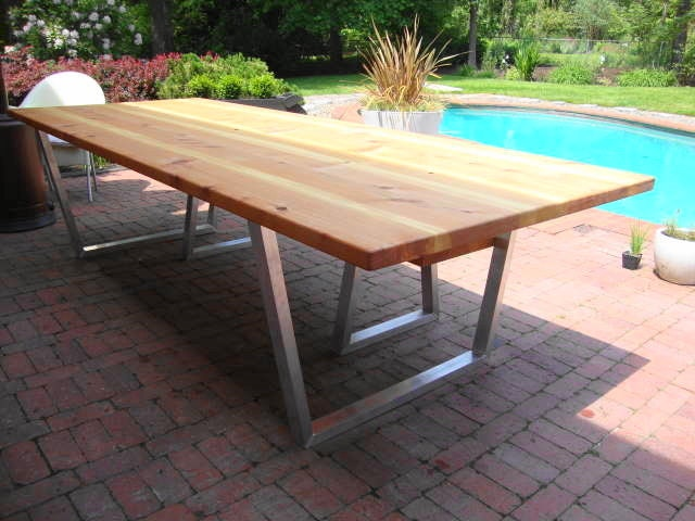Modern Dining Table Plans: Modern Outdoor Dining Table And Bench Cedar & Hand Brushed