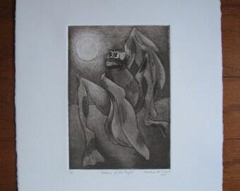 Orignal Artwork--Bat Creature--Sci-Fi/Fantasy--Creature of the Night--Intaglio Print