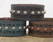 """Leather Cuff Bracelet  / 1"""" wide hand-tooled leather bracelet / row of metal studs"""