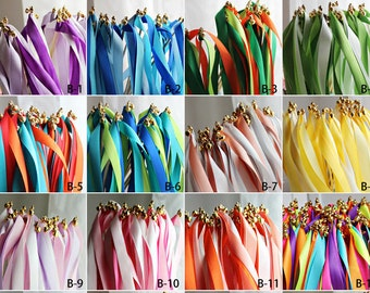 A set of 10 Ribbon Wands, Available in 12 color theme, for Party, Wedding, Bridal Shower